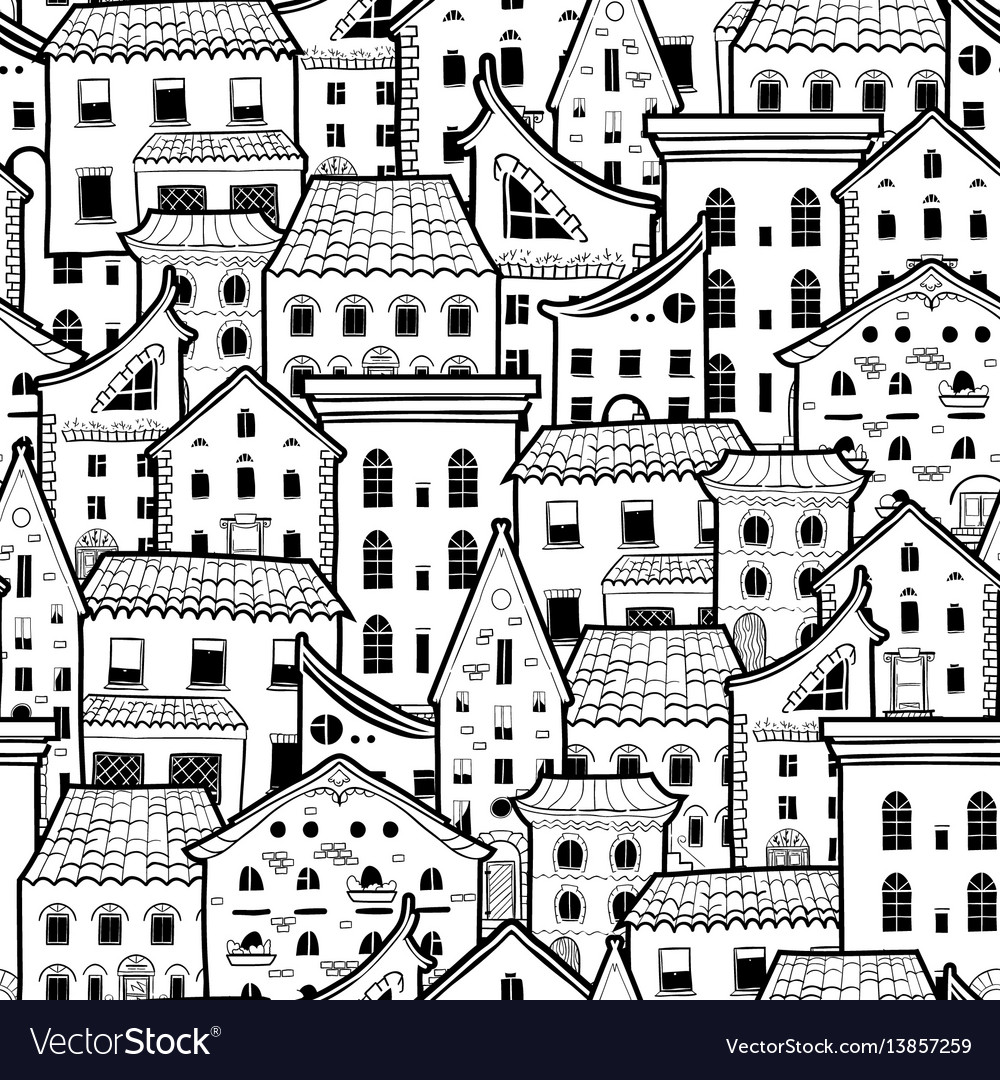 Houses new pattern monochrome 2 vector image