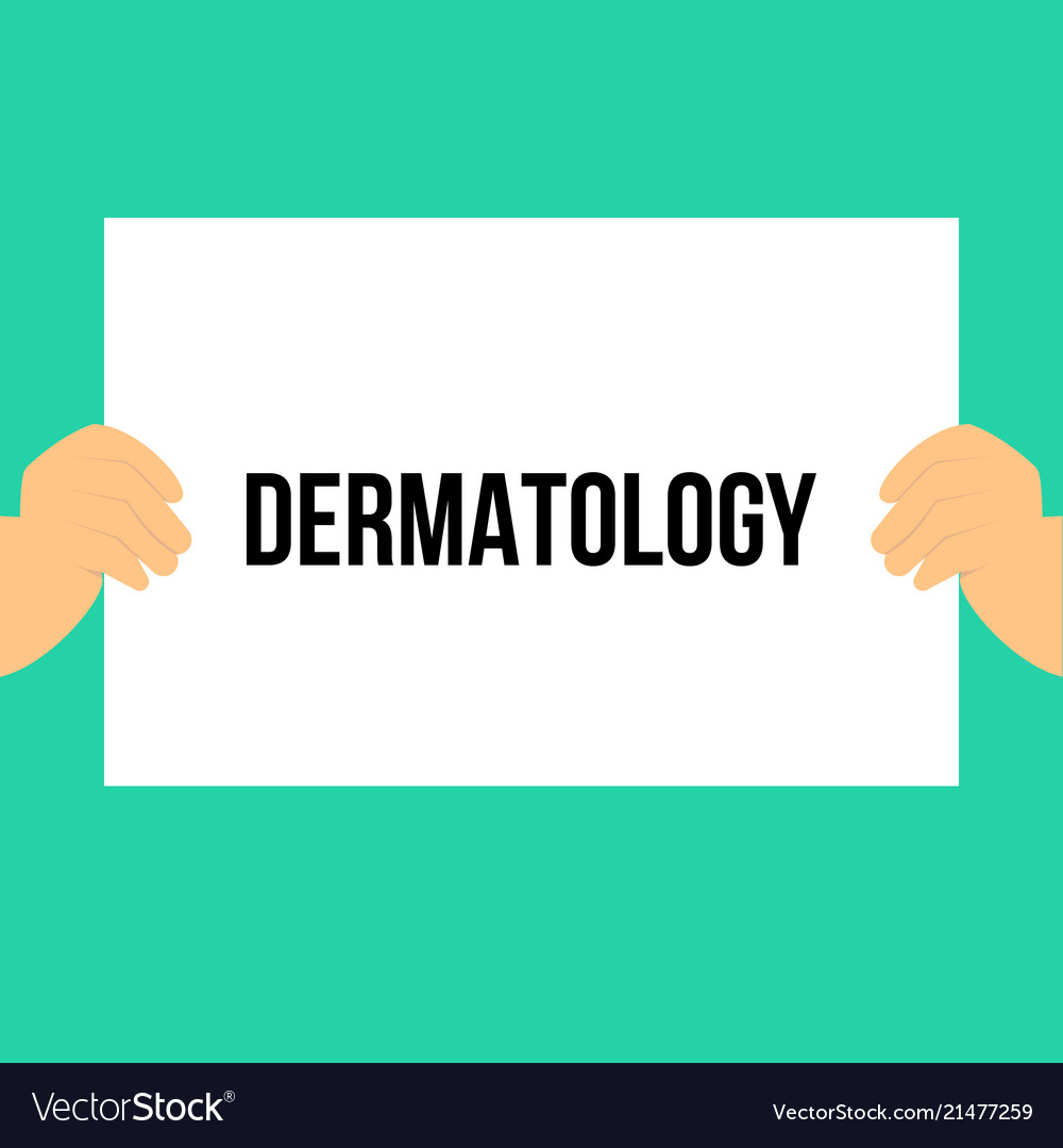 Man showing paper dermatology text