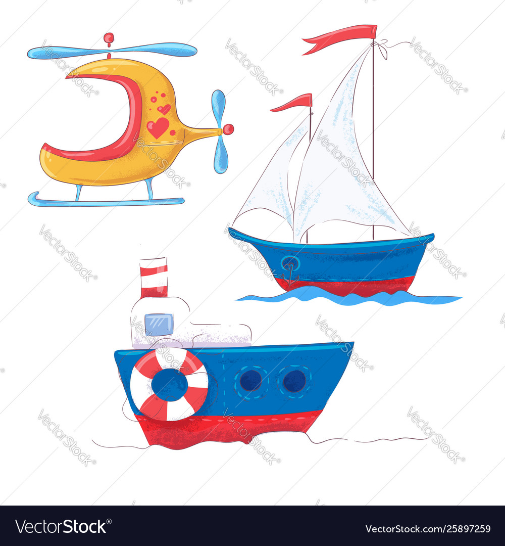 Set cartoon cute transport for children s clipart