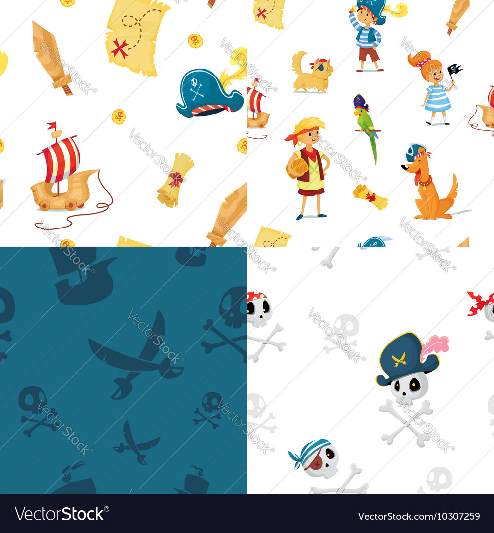 Set of seamless patterns for pirate party