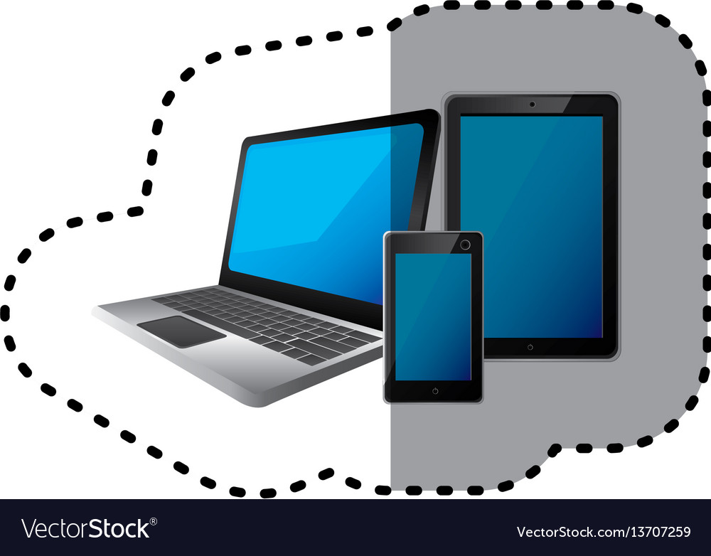 Sticker set collection realistic tech devices vector image