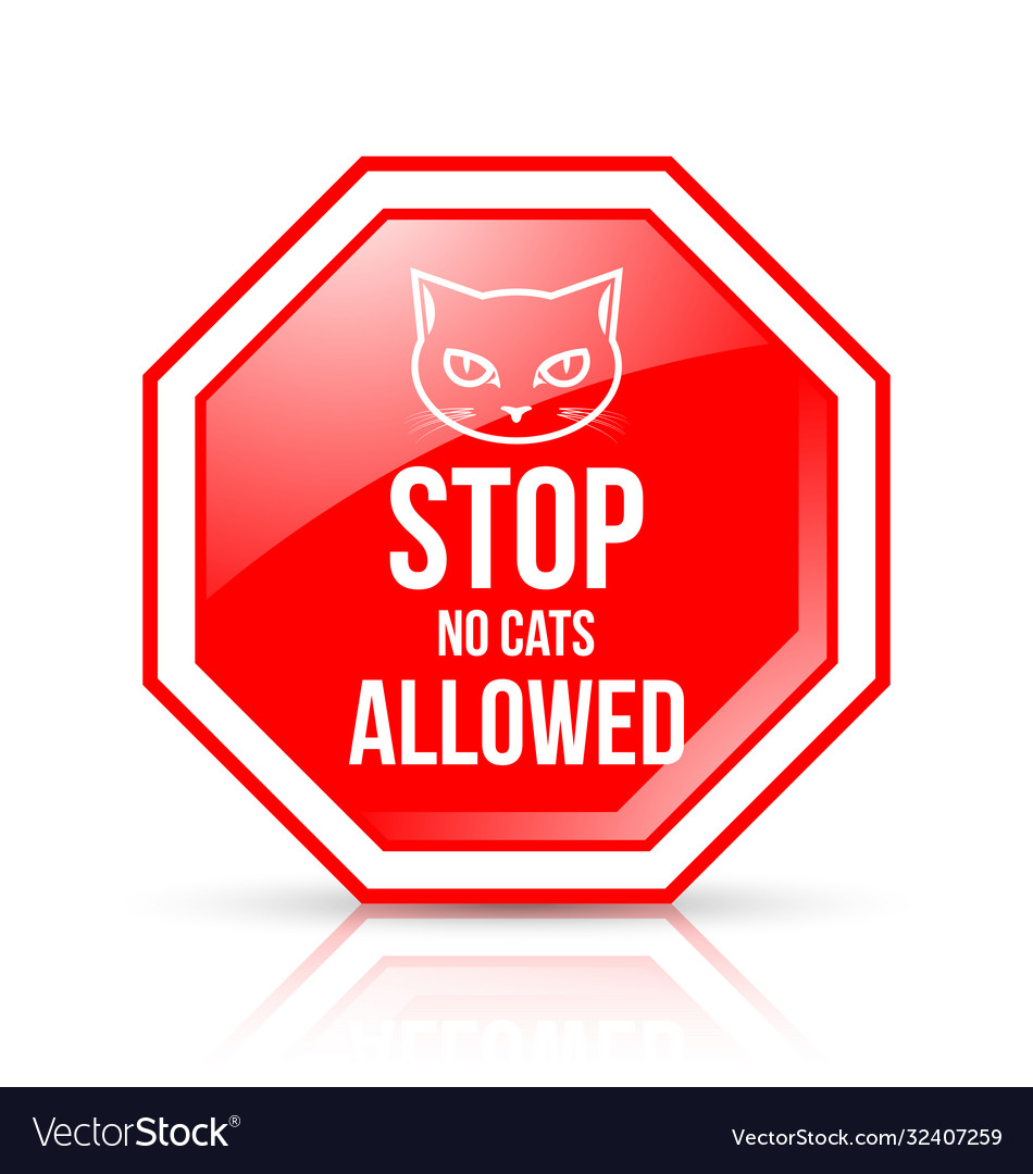 Stop no cats allowed permission sign isolated on