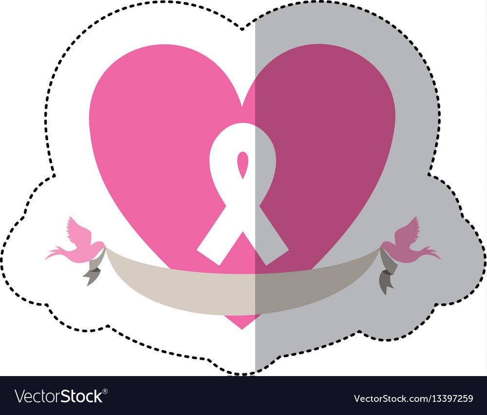 Symbol heart with breast cancer ribbon and doves vector image