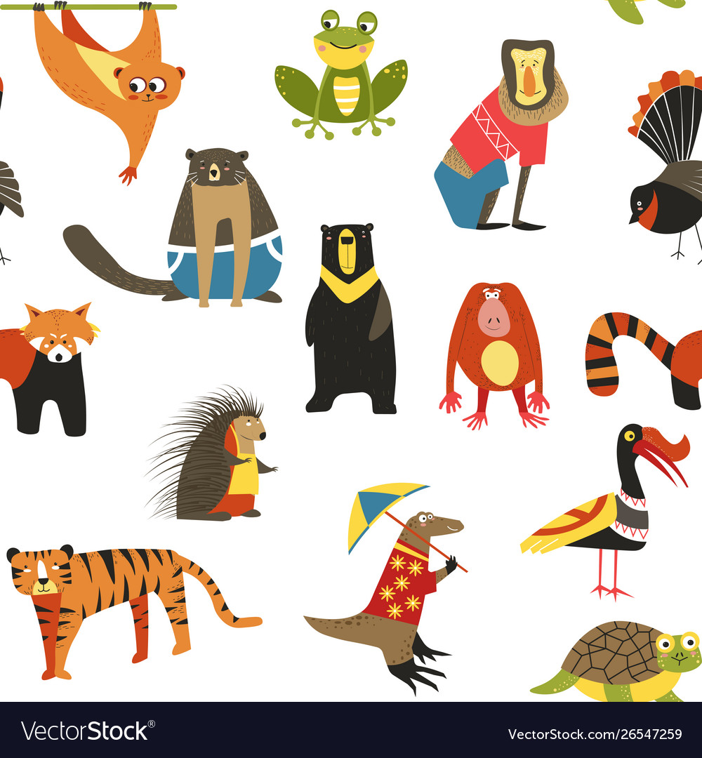 Wild asian animals and birds seamless pattern