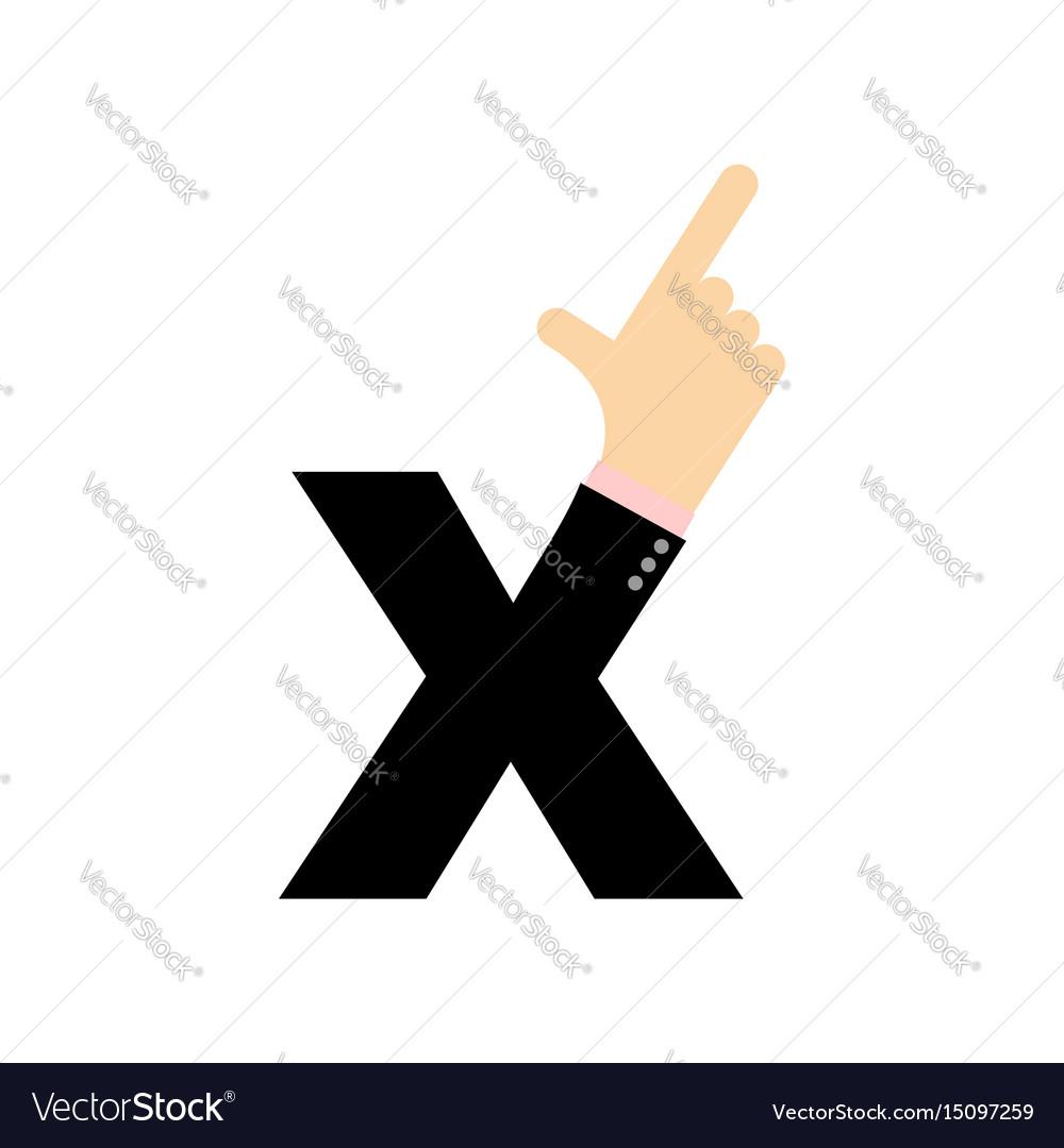 X letter hand forefinger lettering hand of