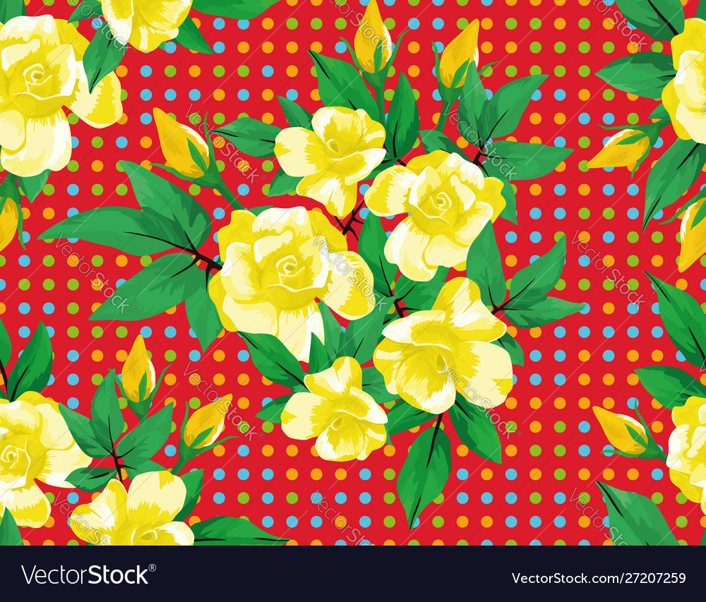 Yellow rose flowers green leaves seamless red