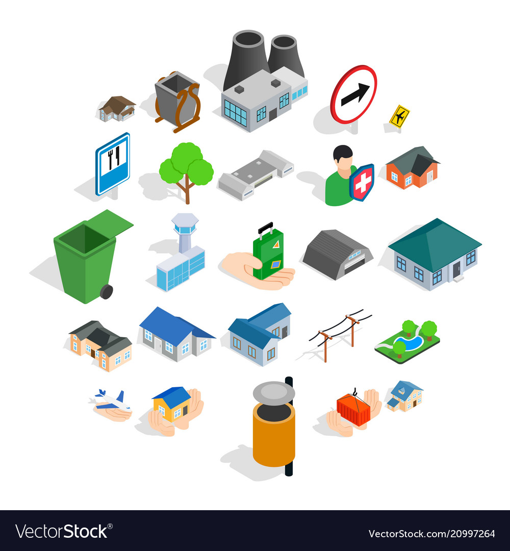 Buildings icons set isometric style