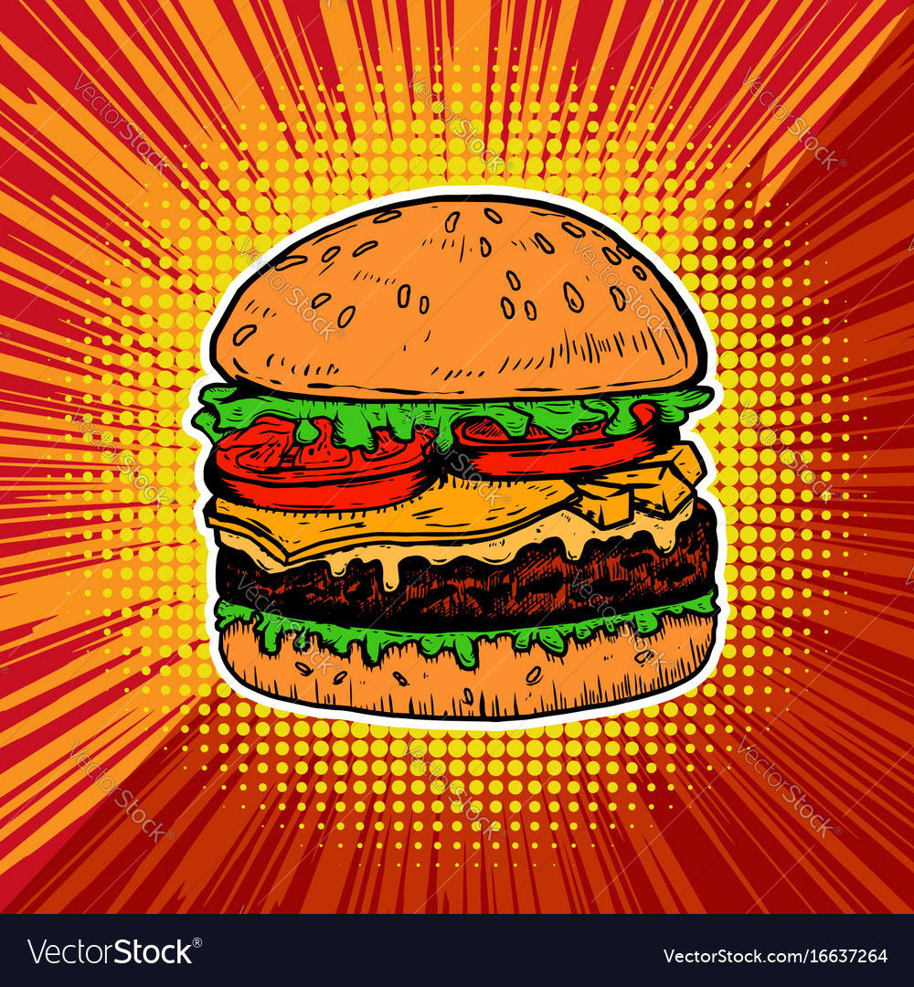 Burger on pop art style background