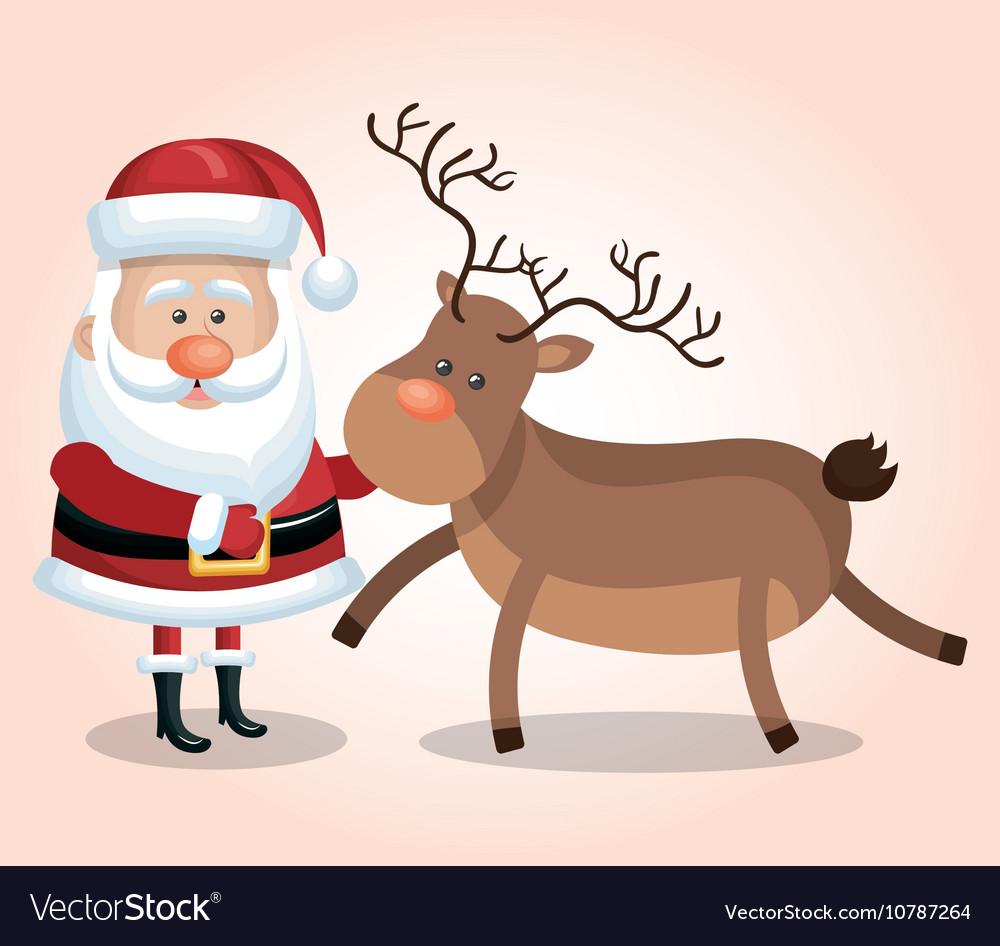 Card santa claus big reindeer christmas design