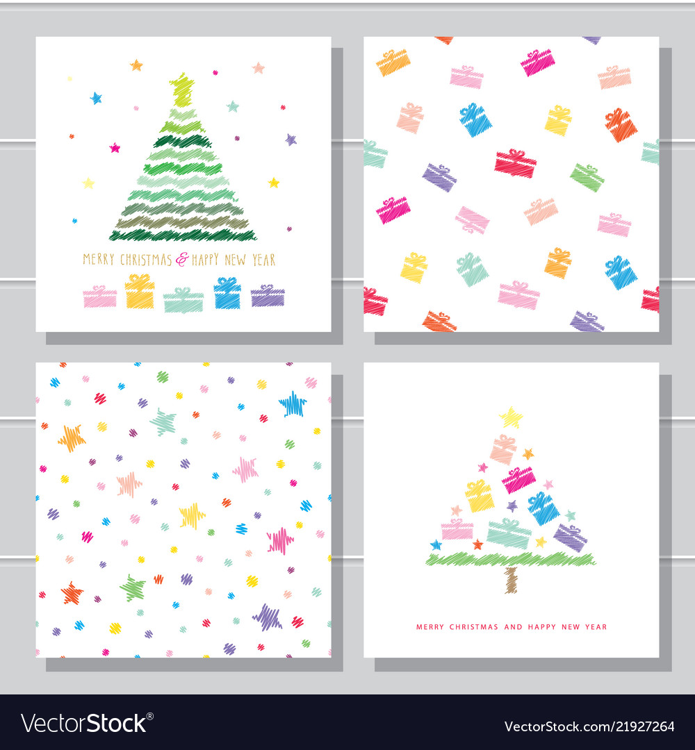 Christmas and new year creative card templates and