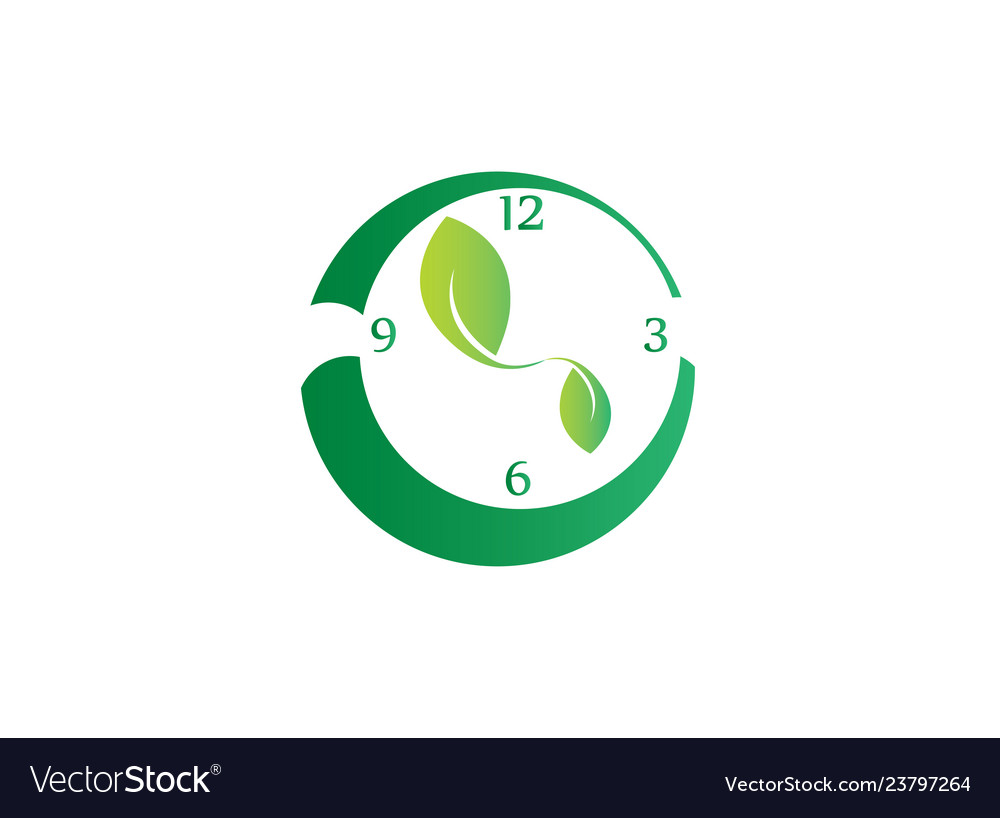 Clock with leaves as clockwise symbol to save