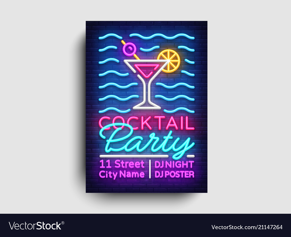 Cocktail party poster neon summer party