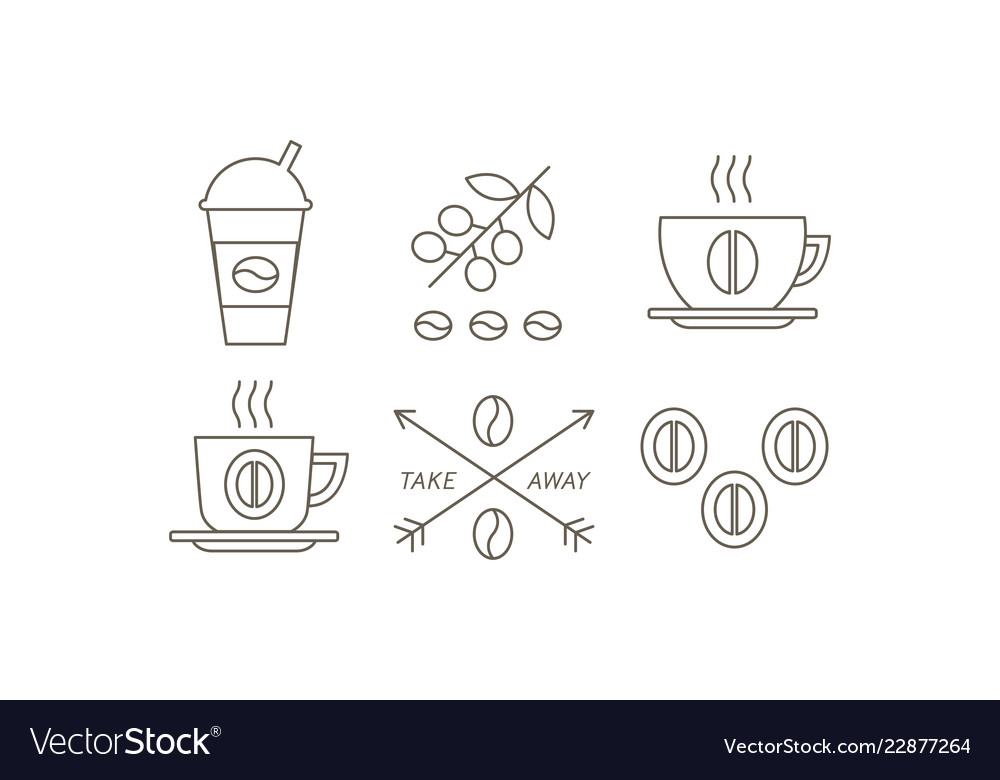 Coffee line icons set takeaway coffee paper cup