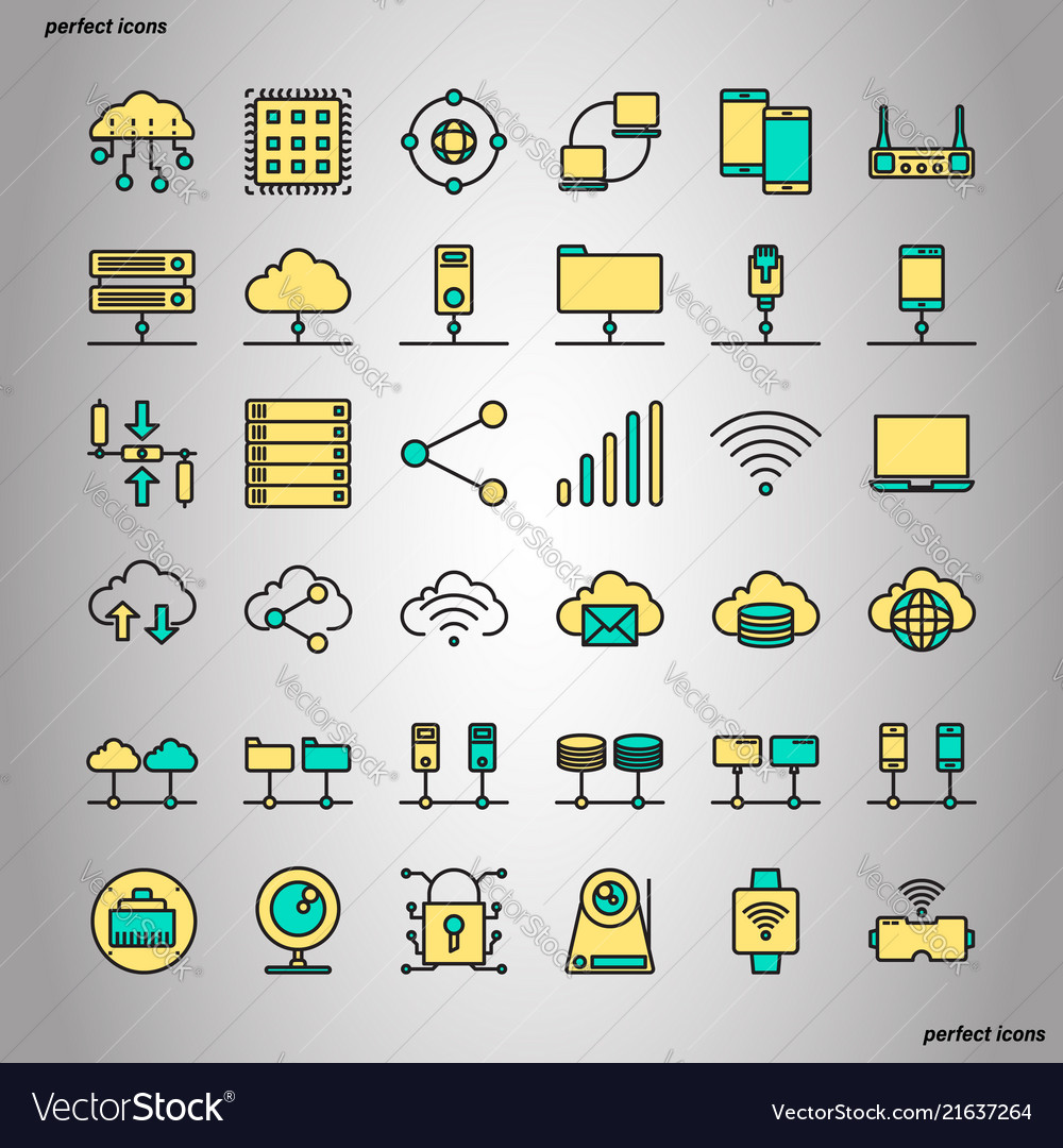 Computer networks and database color line icons