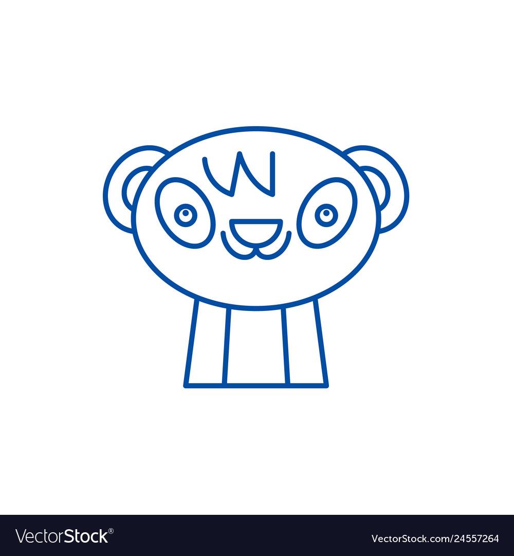 Cute panda line icon concept cute panda flat