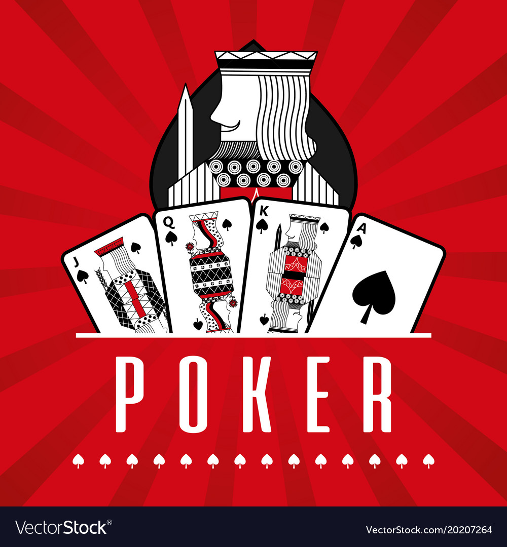 Deck of card casino poker king spade red rays