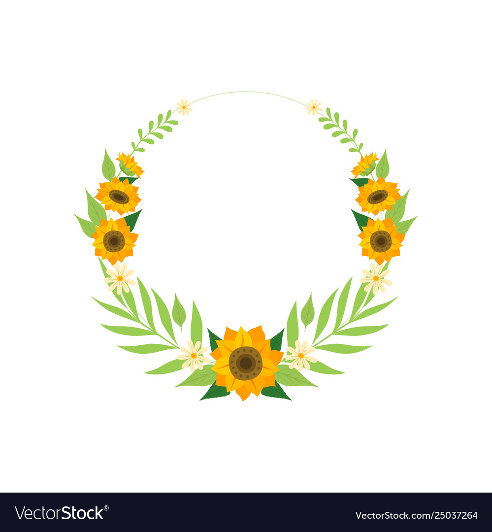 Floral wreath with sunflowers circle frame