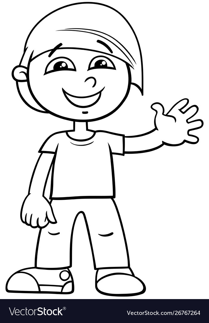 Funny Boy Cartoon Character Color Book Royalty Free Vector