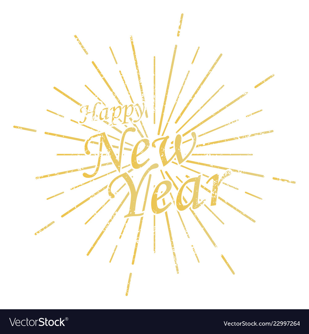 Happy new year inscription with burst