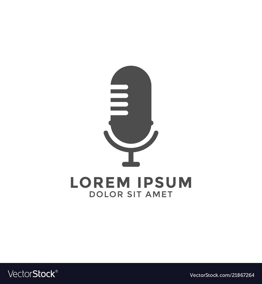 Microphone logo icon design template