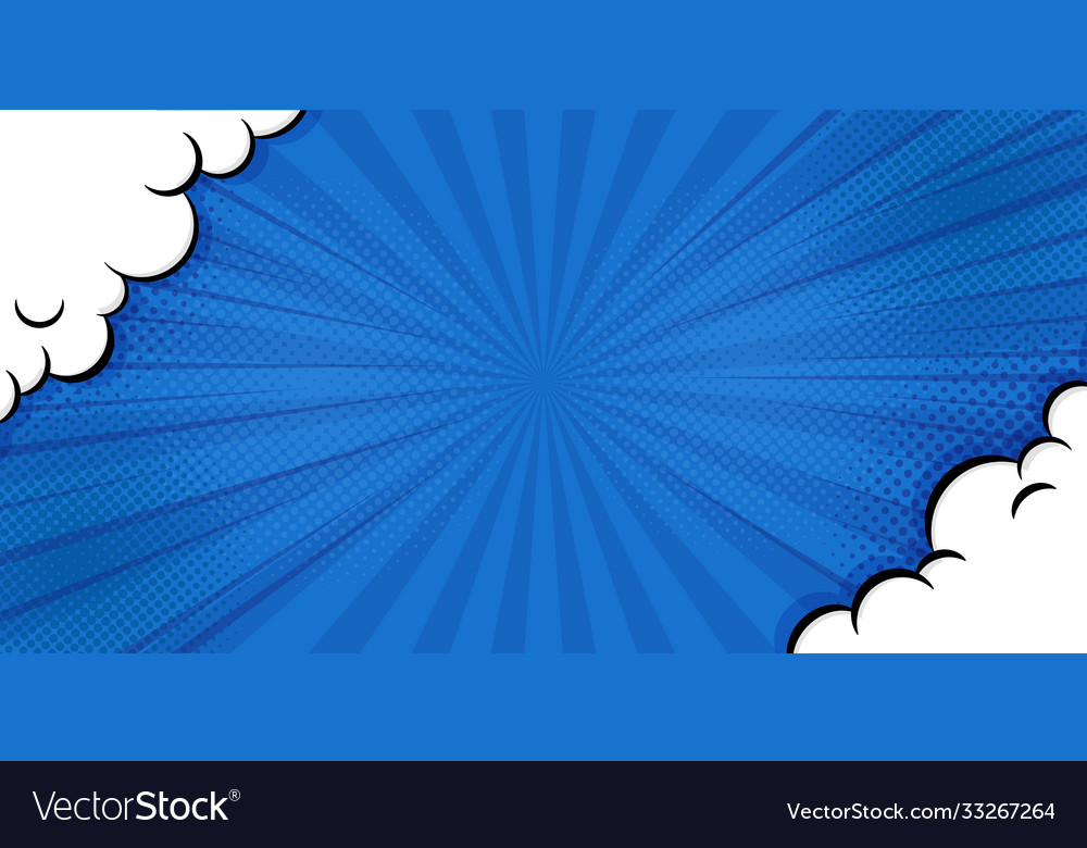 Pop art comic background with cloud and shine