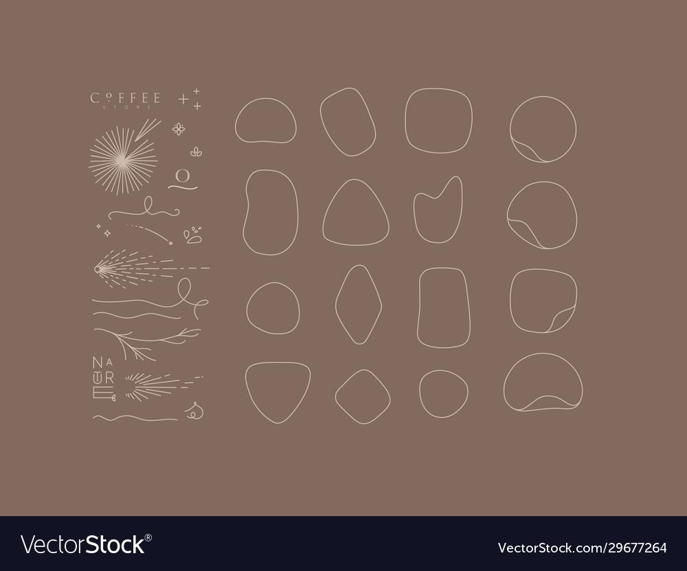 Set decorative elements and frames brown