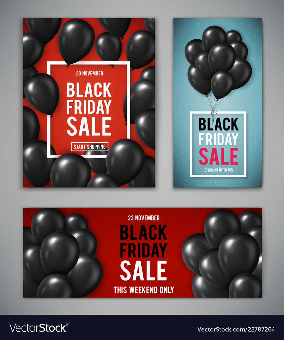 Set of banners for black friday sale with