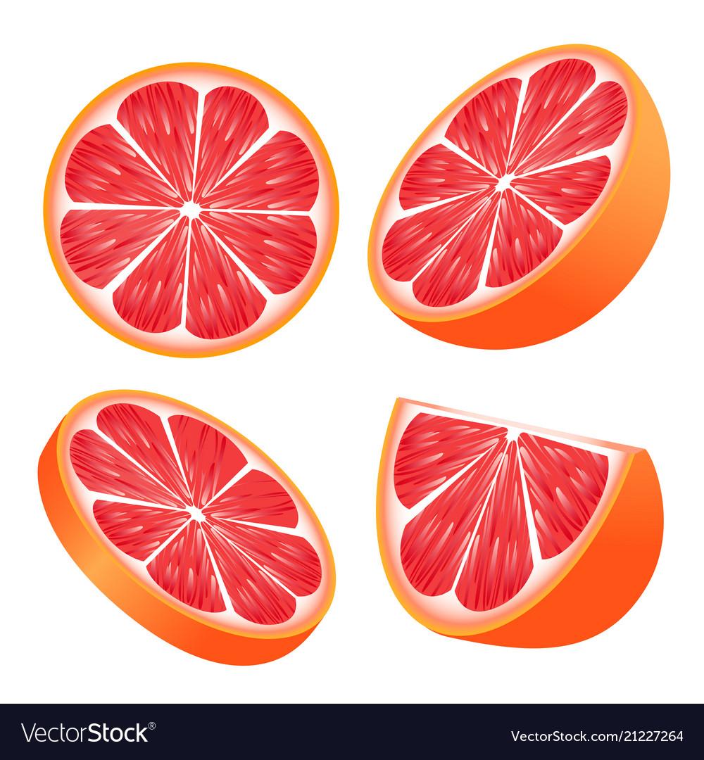 Set of grapefruit slices isolated on white