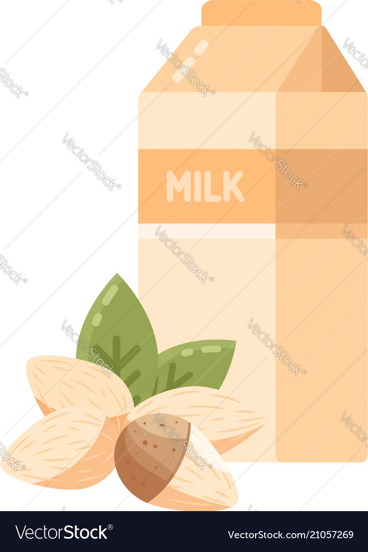 Almond milk icon in flat style
