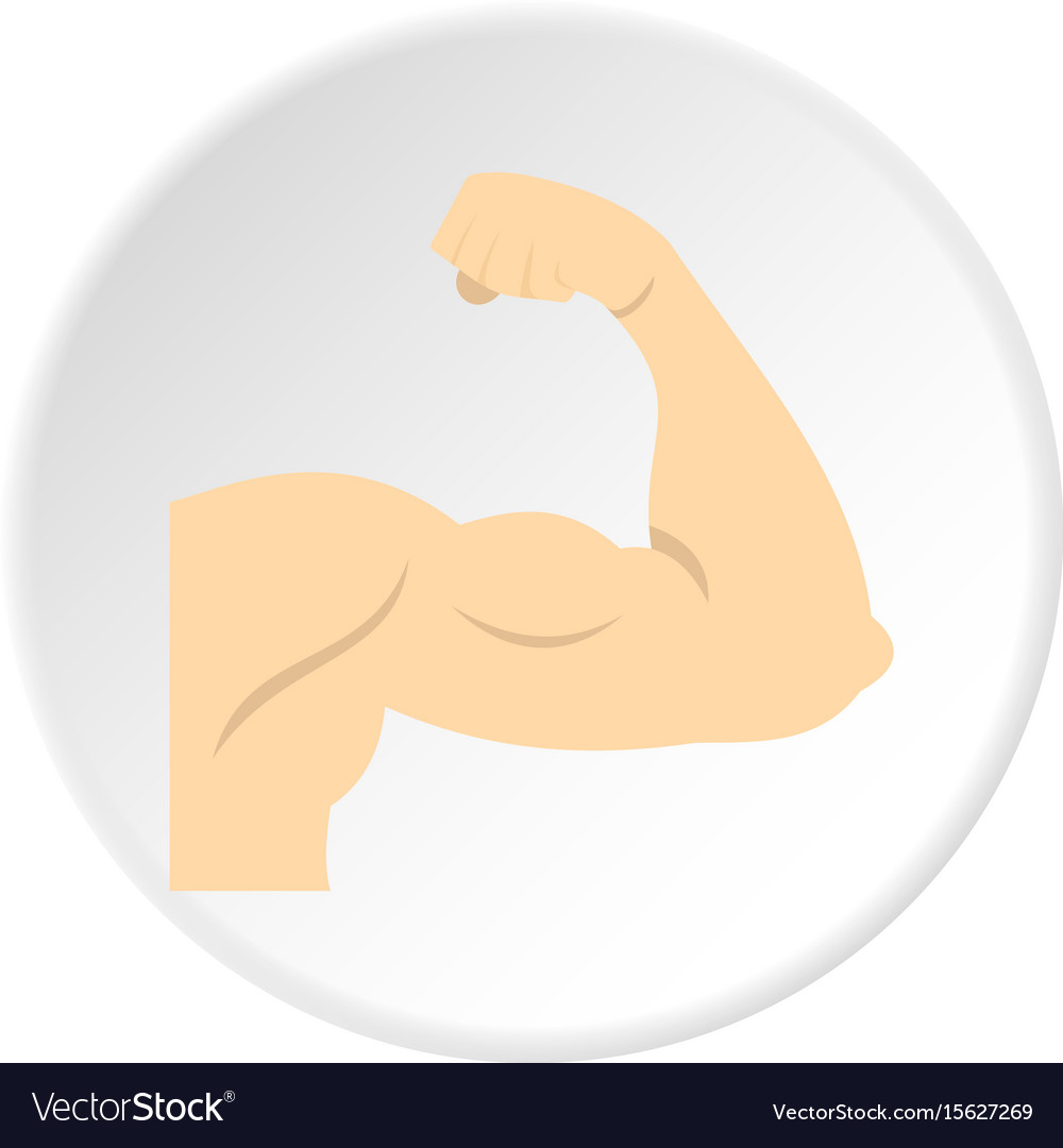 Arm showing biceps muscle icon circle