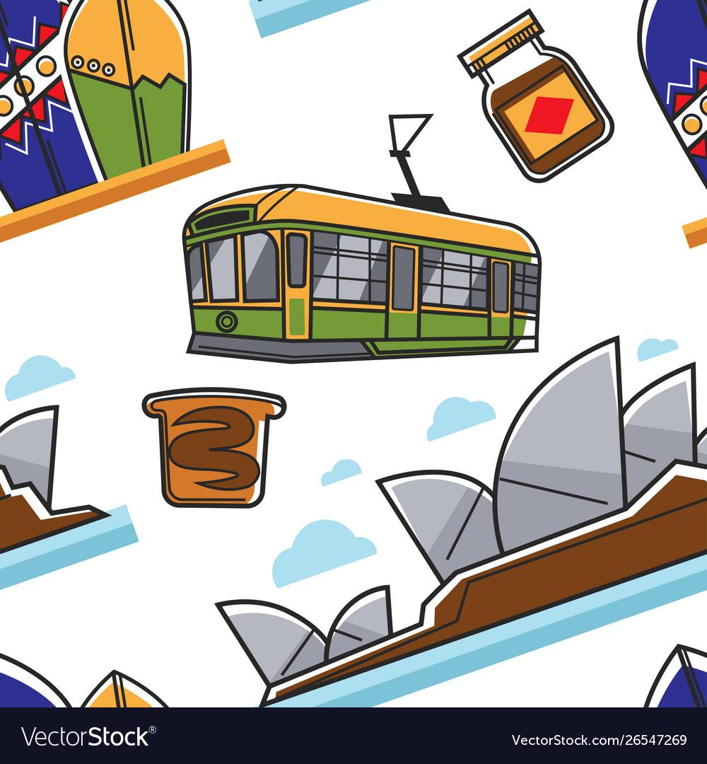Australian symbols seamless pattern traveling and