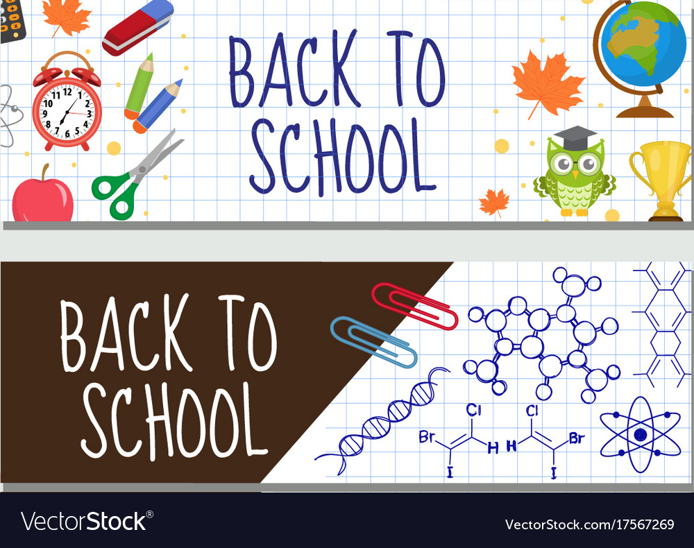 Back to school set of banners template with space