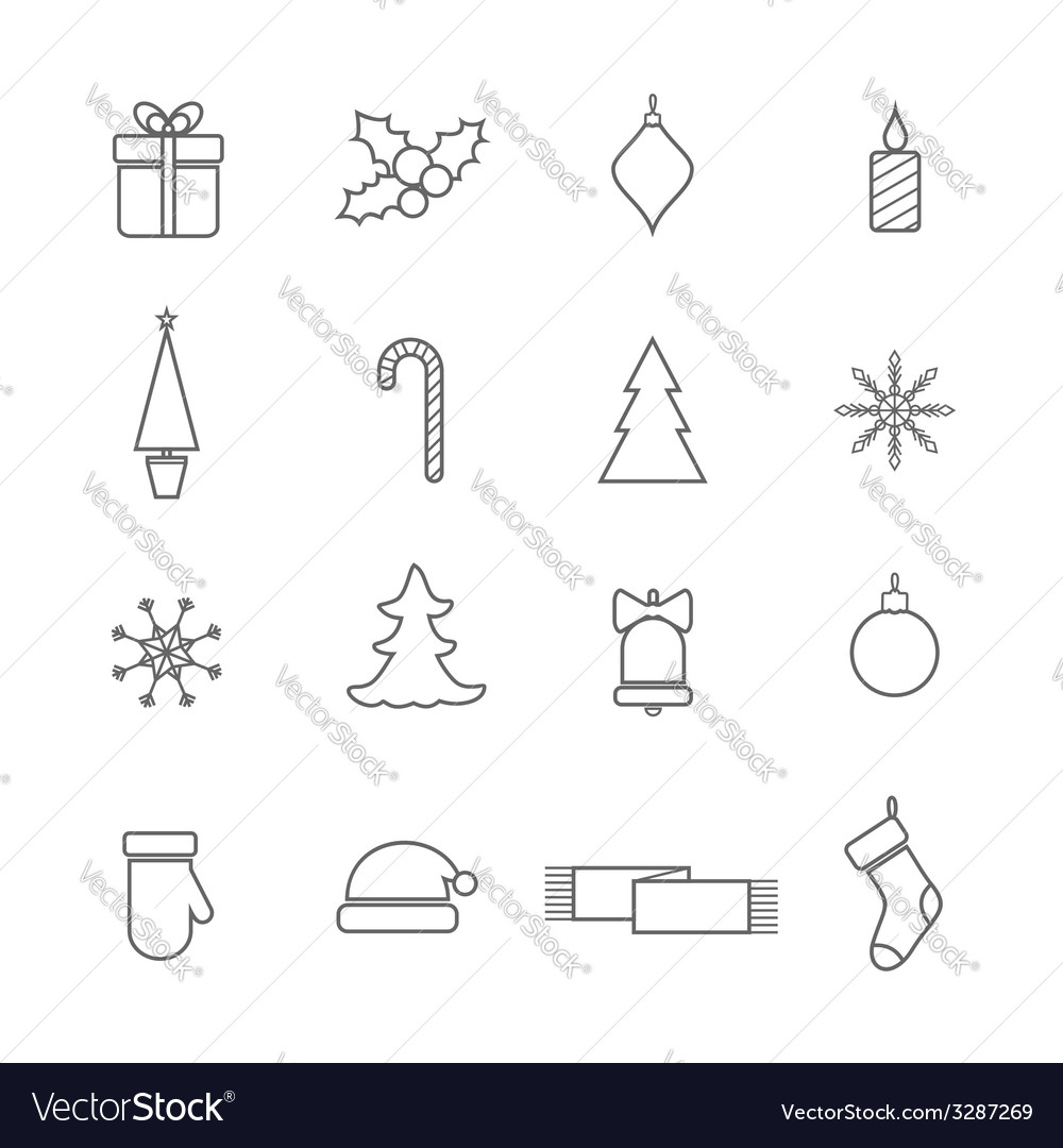 Christmas line icons set