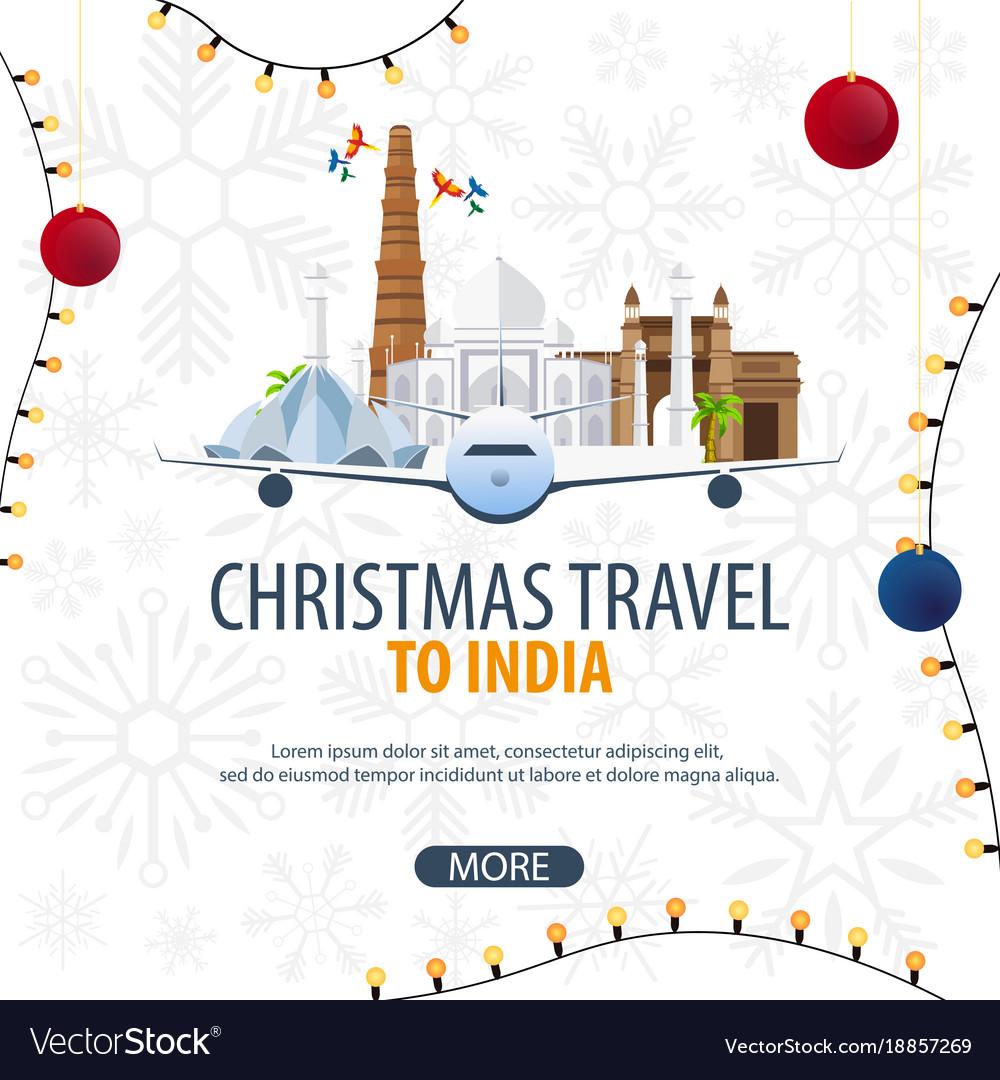 Christmas travel to india delhi agra winter Vector Image