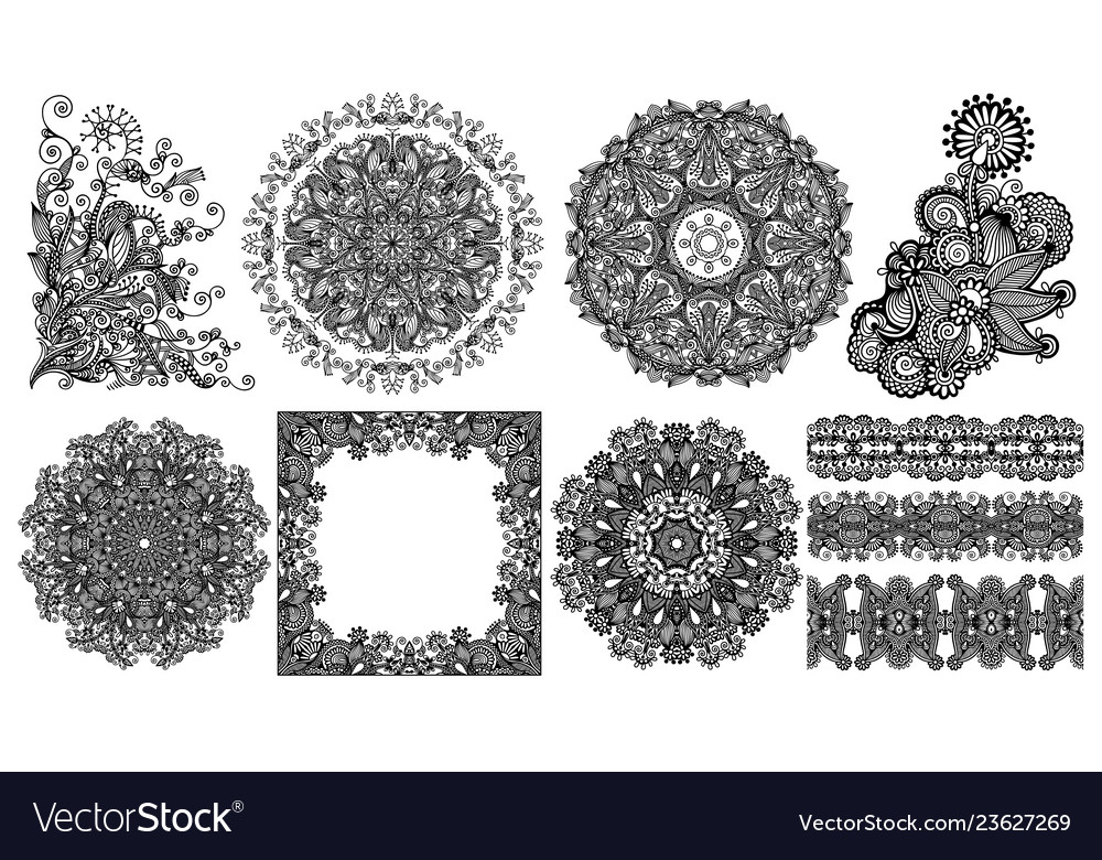 Collection of seamless decorative ethnic