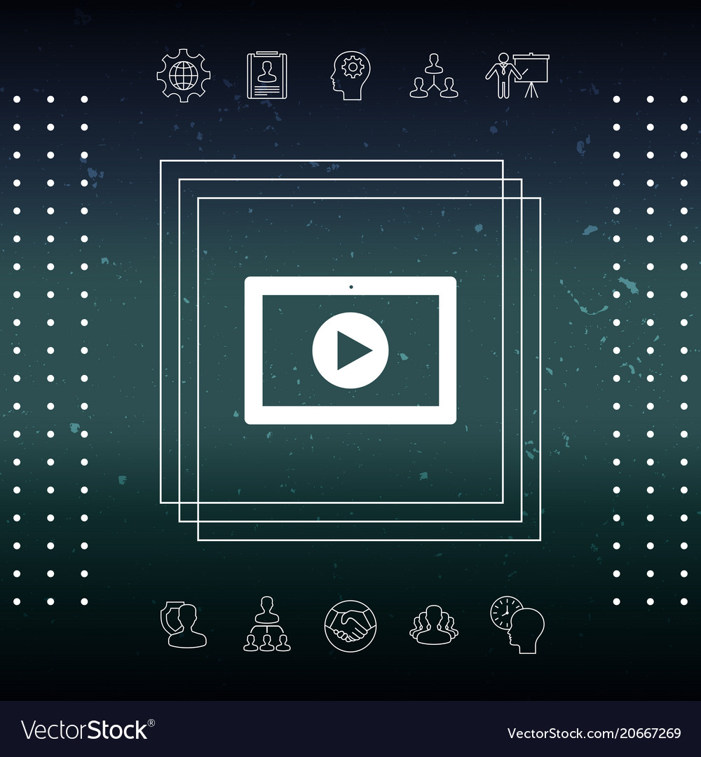 Computer tablet with play button icon