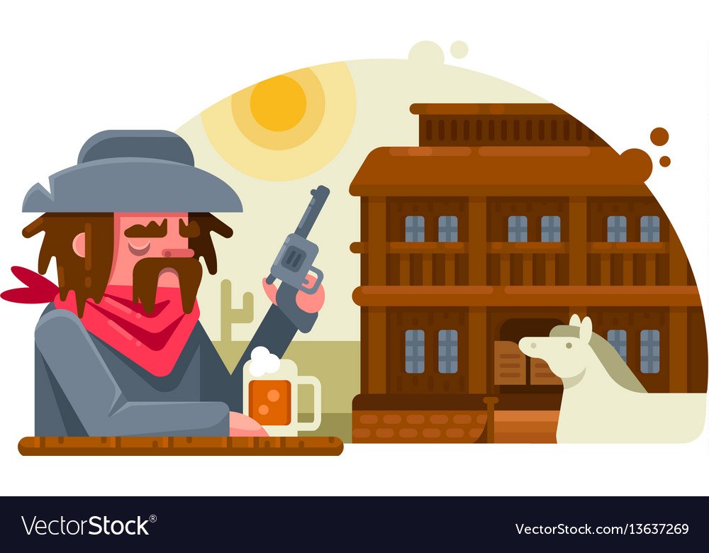 Cowboy with revolver drinks beer in pub