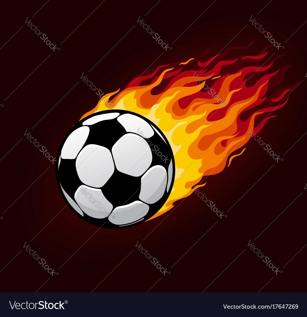 Fire flying football ball for soccer poster