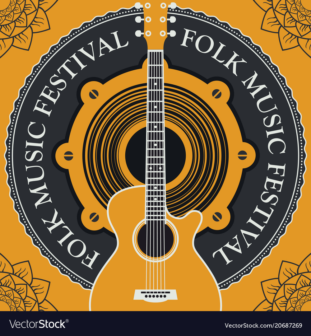 Folk music festival poster or banner with guitar