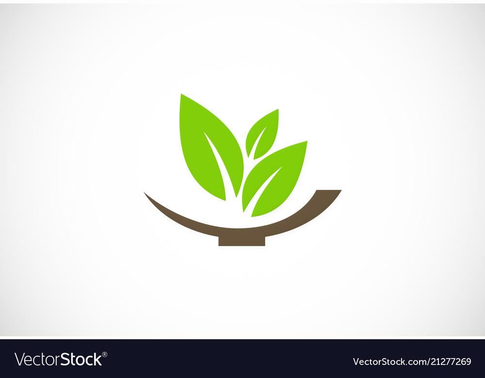 Green organic leaf logo