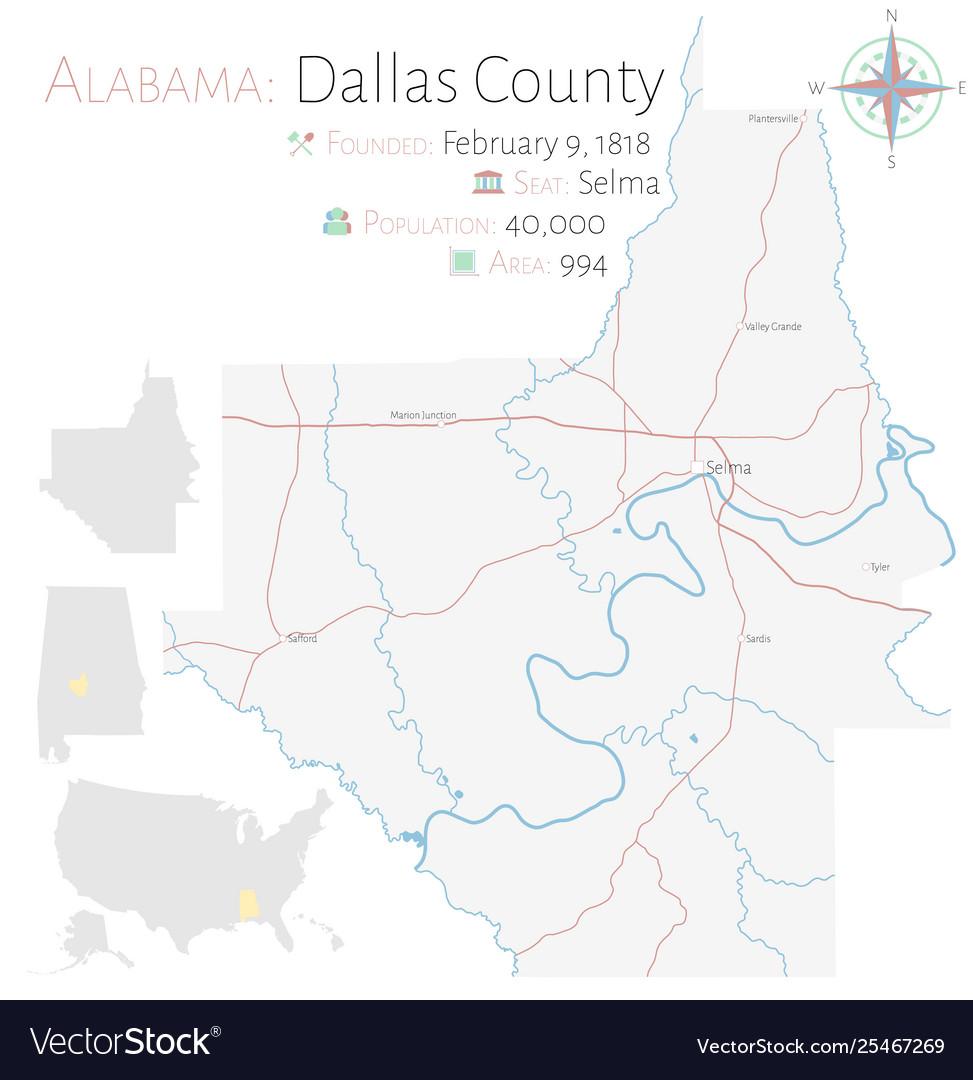 Map dallas county in alabama Royalty Free Vector Image
