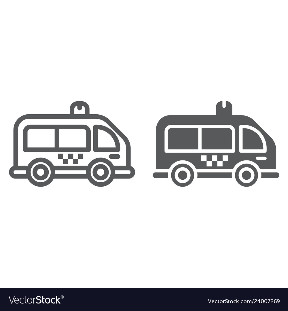 Mini bus line and glyph icon automobile and car