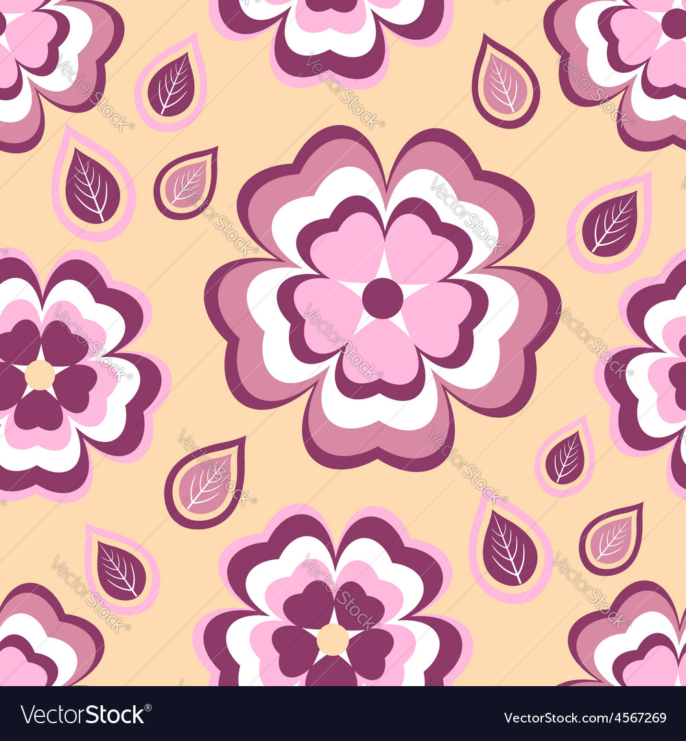 Seamless pattern flower sakura and leaf vector image