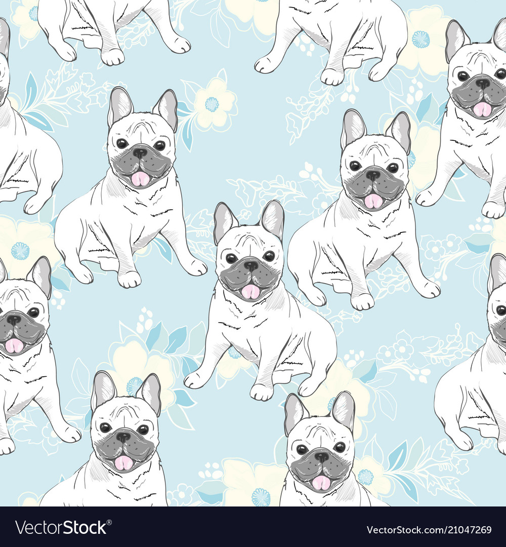 Seamless pattern with cute cartoon dog puppies