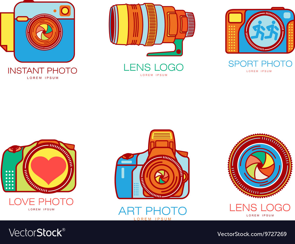 Set of colorful camera logo templates