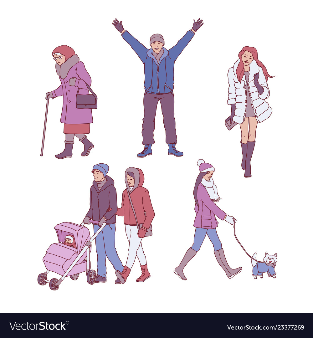 Sketch people walking in winter set