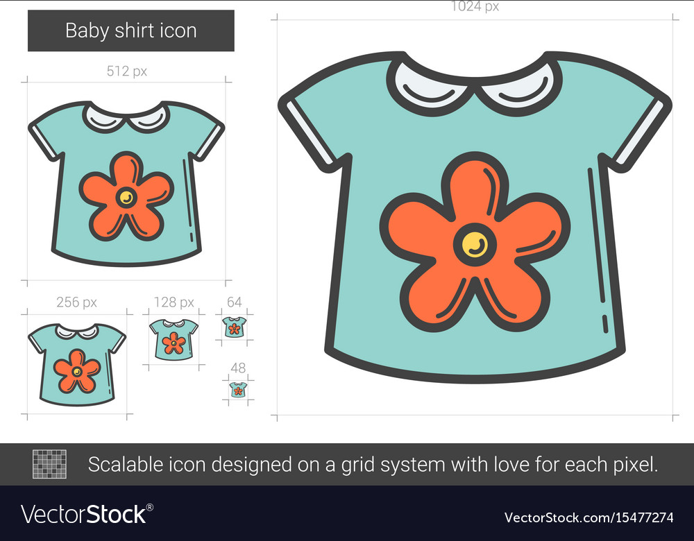 506a86c5397e Baby shirt line icon Royalty Free Vector Image