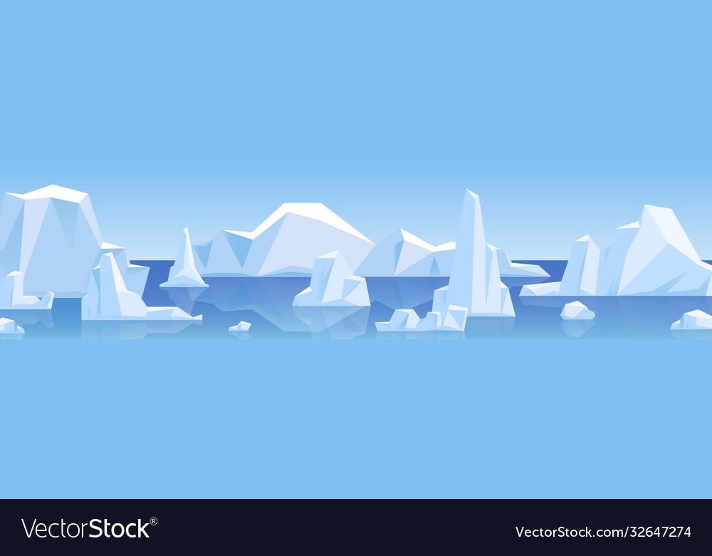 Beautiful panorama with natural arctic glacier and