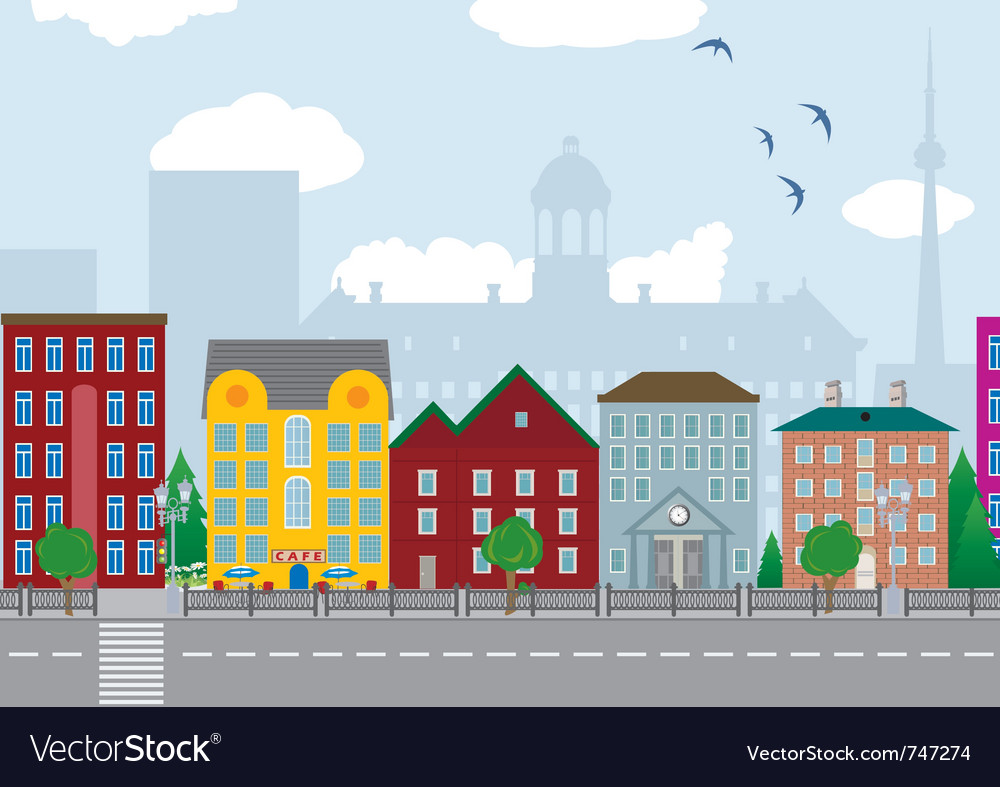 City houses vector image