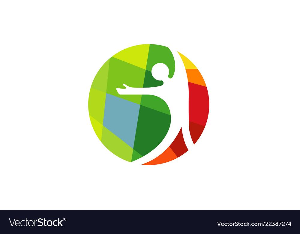 Creative happy person symbol hope logo